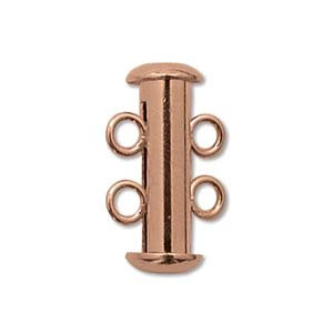 Shiny COPPER Plate 2 STRAND SLIDE CLASP Pk 2