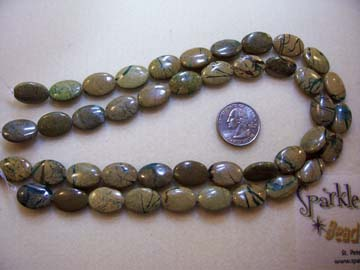 GREEN VEIN JASPER Ovals 18mm