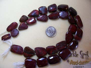 RED RAINBOW JASPER Faceted Nuggets