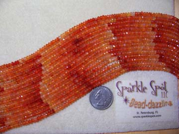 Mix Color CARNELIAN Micro-Facet Rondelles 4mm