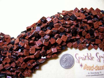 MAHOGANY OBSIDIAN Cross Drilled Square 10mm