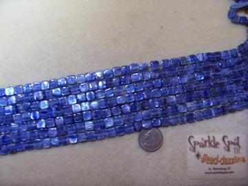 Blue KYANITE Puffy Square 9mm