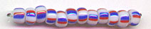 RED WHITE BLUE Striped  Toho Round Sz 06