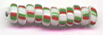 RED GREEN WHITE Striped Toho Round Sz 06