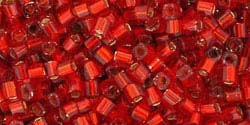 3mm RUBY SILVER LINED Toho Cube Square
