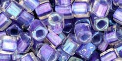 3mm PURPLE MTLLC LND RAINBOW CRYSTAL Toho Cube Square