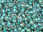 CRYSTAL RAINBOW TEAL LINED Toho Round Sz 8