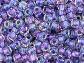 PURPLE METALLIC RAINBOW CRYSTAL LINED Toho Round Sz 6