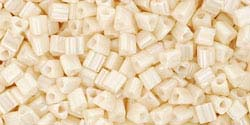 LIGHT BEIGE OPAQUE LUSTER Toho TRIANGLE Seed Beads Sz 11
